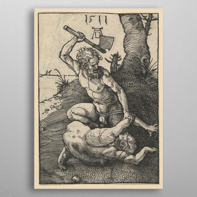 Albrecht Dürer - Cain Killing Abel, 1511, woodcut;  Collection of The Metropolitan Museum of Art In New York metal poster
