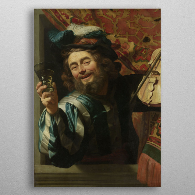 Gerard van Honthorst - The Merry Fiddler, 1623, oil on canvas; Collection of The Rijksmuseum metal poster