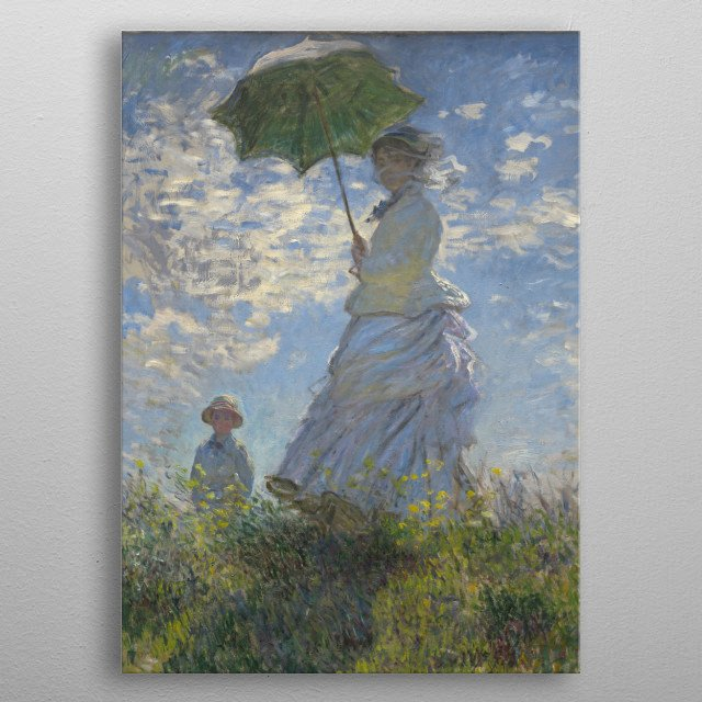 Claude Monet - Woman with a Parasol - Madame Monet and Her Son, 1875, oil on canvas; Collection of The National Gallery of Art in Washington metal poster