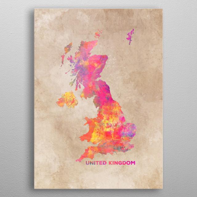 United Kingdom map metal poster