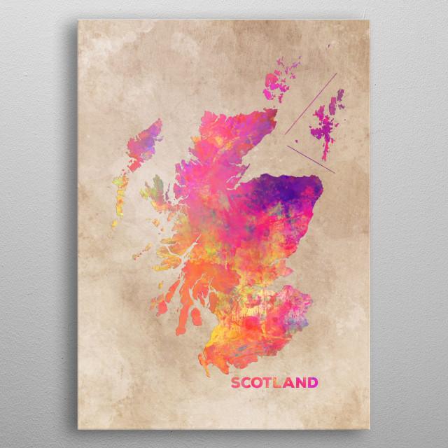Scotland map metal poster