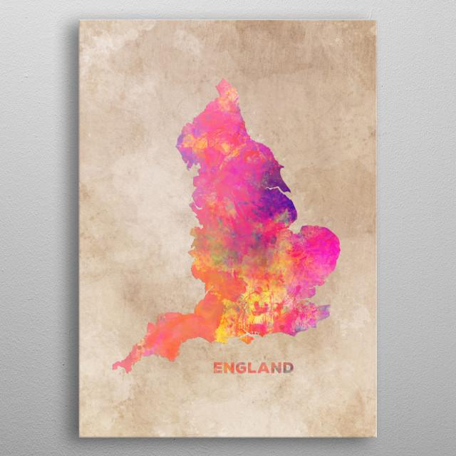 England map metal poster