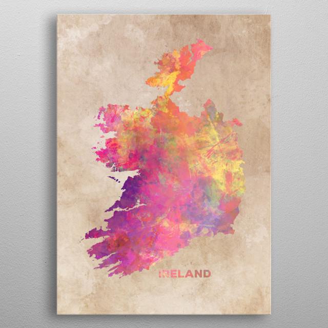 Ireland map metal poster