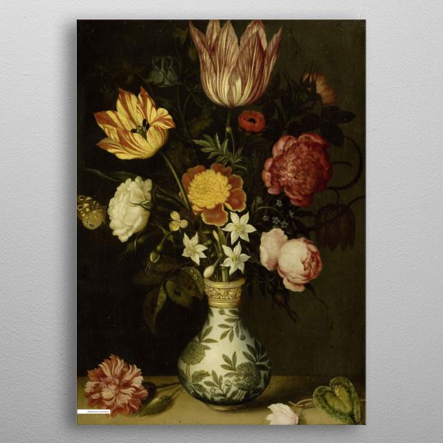Vintage illustration of flowers  metal poster