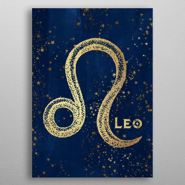 Leo birthdates July 23 to August 22. Antique Vintage Art Deco Esoteric Occult inspired sun signs symbol for every birth day. Golden over dark magical navy blue. Find the sign you were born under in the Cascadia store: Libra Pisces Sagittarius etc metal poster