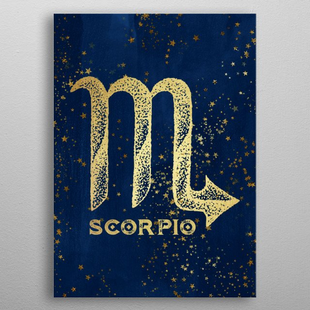 Scorpio birthdates October 23 to November 21 Antique Vintage Art Deco Esoteric Occult inspired sun signs symbol for every birth day Golden over dark magical navy blue. Find the sign you were born under in the Cascadia store: Aries Virgo Capricorn and more. metal poster