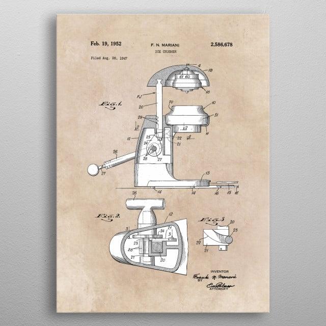 patent art Mariani Ice crusher 1952 metal poster