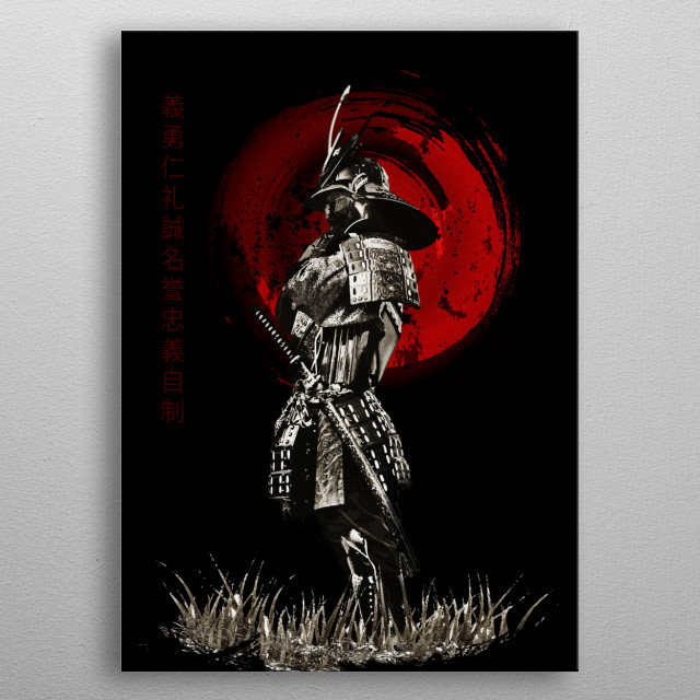 Bushido Samurai Standing metal poster