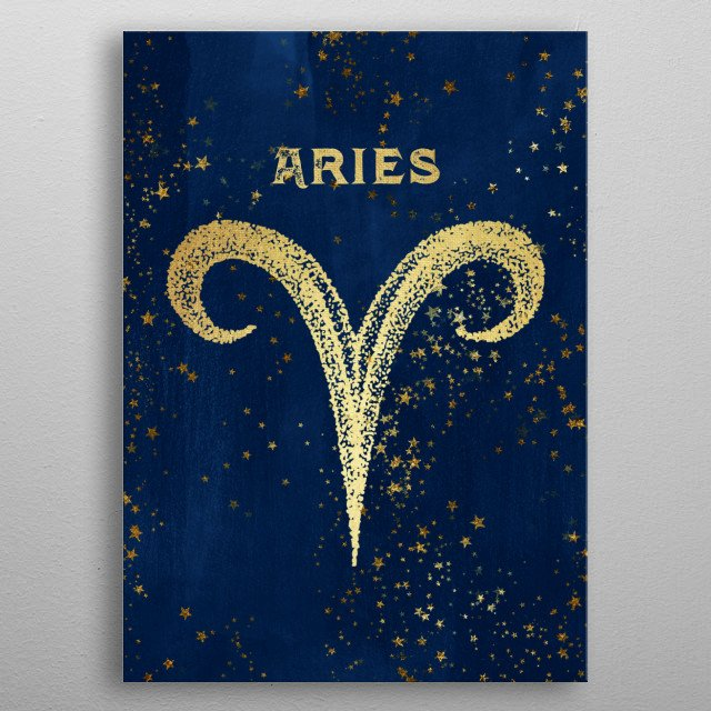 Aries birthdates March 21 to April 19 Antique Vintage Art Deco Esoteric Occult inspired sun signs symbol for every birth day Golden over dark magical navy blue. Find the sign you were born under in the Cascadia store: Cancer Capricorn Gemini etc. metal poster