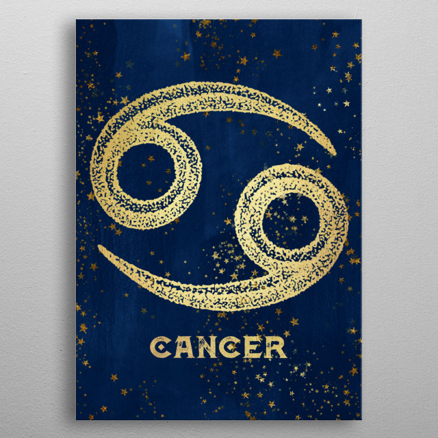 Cancer birthdates June 21 to July 22. Antique Vintage Art Deco Esoteric Occult inspired sun signs symbol for every birth day. Golden over dar... metal poster