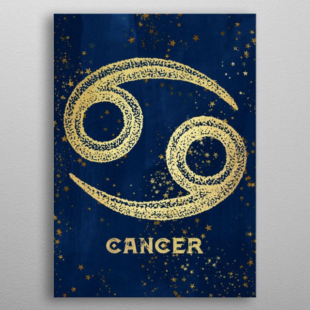 Cancer birthdates June 21 to July 22. Antique Vintage Art Deco Esoteric Occult inspired sun signs symbol for every birth day. Golden over dark magical navy blue. Find the sign you were born under in the Cascadia store: Gemini Leo Aries and more. metal poster