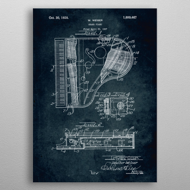 No004 - 1927 - Grand Piano - Inventor Walter Weiser metal poster