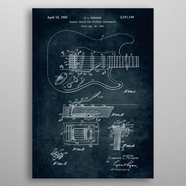 No003 - 1954 - Tremolo devide for stringed instruments - Inventor Clarence L. Fender metal poster