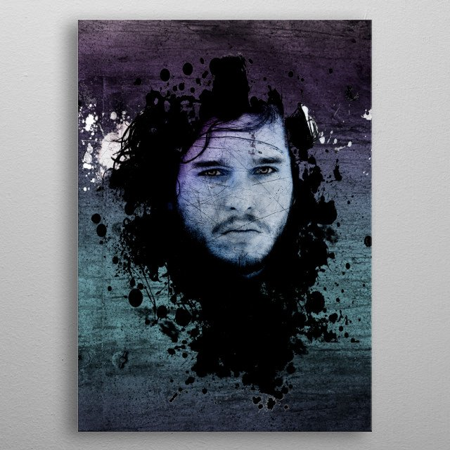 Grunge Jon Snow King in The North from Game of Thrones. metal poster