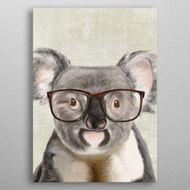 Portrait of a funny koala bear with big glasses. metal poster