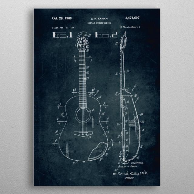 No019 - 1967 - Guitar construction - Inventor C. H. Kaman  metal poster