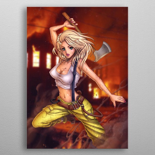 Fire Fighter anime girl with axe metal poster