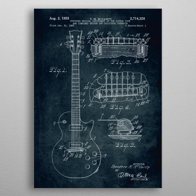 No025 - 1953 - Stringed musical instrument of the guitar type and combined bridge and tailpiece therefor metal poster