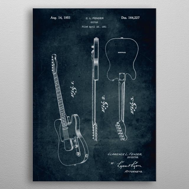 No023 - 1951 - Fender guitar - Inventor Clarence L. Fender metal poster