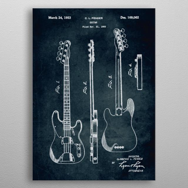 No021 - 1952 - Fender Guitar - Inventor Clarence L. Fen... metal poster