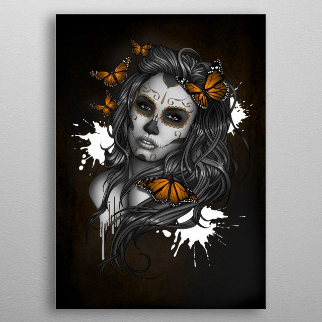 Sugar Skull Girl Tattoo inspired art for Day of the Dead. metal poster
