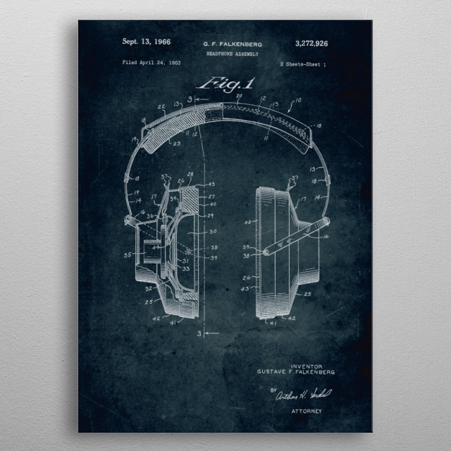 No010 - 1963 - Headphone assembly - Inventor Gustave F.... metal poster