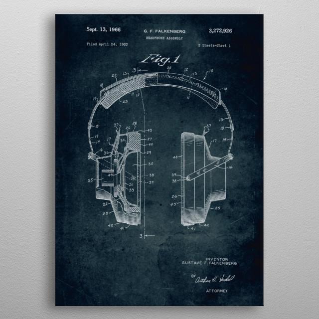 No010 - 1963 - Headphone assembly - Inventor Gustave F. Falkenberg metal poster