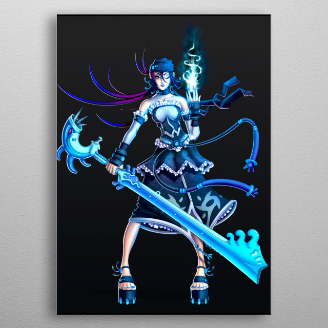 Manga Pirate with magic powers and huge sword! metal poster