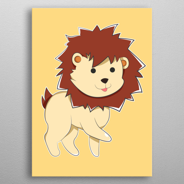 A Cartoon Yellow Lion with small round black Anime eyes, furry and pointy dark brown mane, cute tiny tail and a cute, joyful face. sticking o... metal poster
