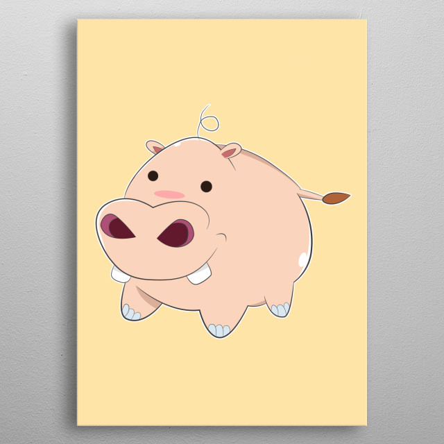 A Pink Cartoon Baby Hippopotamus with small circle black eyes, big nose and nostrils, fat round body and white, shiny front teeth, smiling an... metal poster