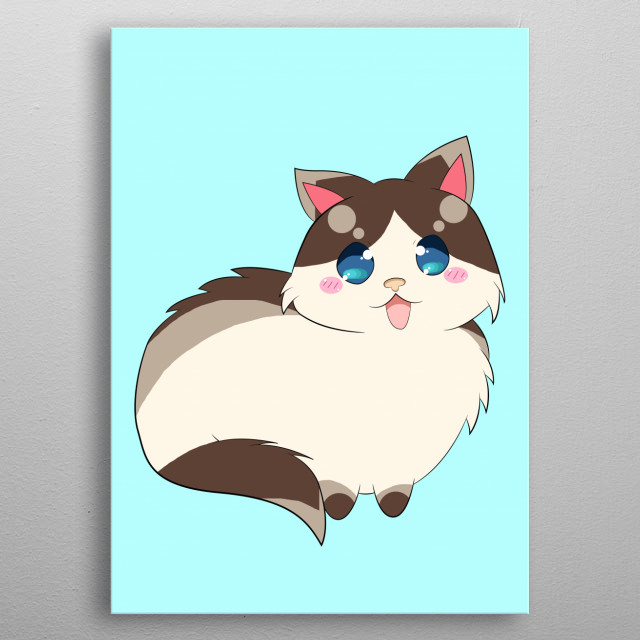 An Cartoon Style Ragdoll Cat with brown and gray pattern on their long fluffy fur, having one of the cutest face in the world. Ragdoll is Love and Life, Simply the Best design for You animal lovers to tell everyone how much Your furry Ragdoll means to You. metal poster