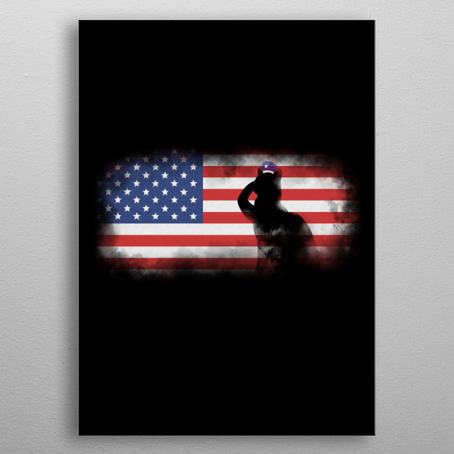 A Black Cat soldier silhouette saluting the US flag, The Land of the Free and the Home of the Brave. This Kitten's proud to be an American. metal poster