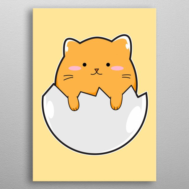 A cute Orange Kitten sticking His big Head out of a broken egg shell like some fresh Egg Yolk, eager to see the outside world. metal poster