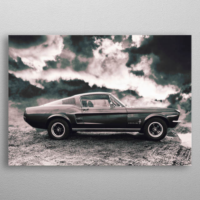 Shot of Ford Mustang converted into a piece of digital art. metal poster
