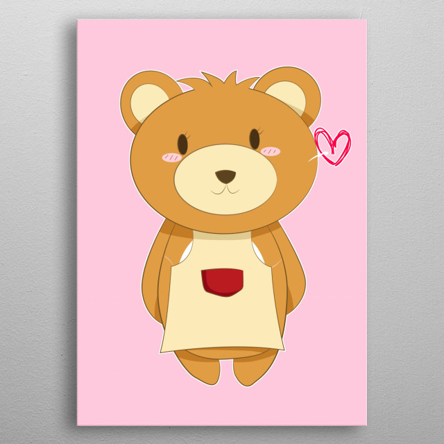Mother Brown Bear wearing a red pocket yellow apron, with Cute anime face, big round ear and furry, fluffy beautiful fur. metal poster