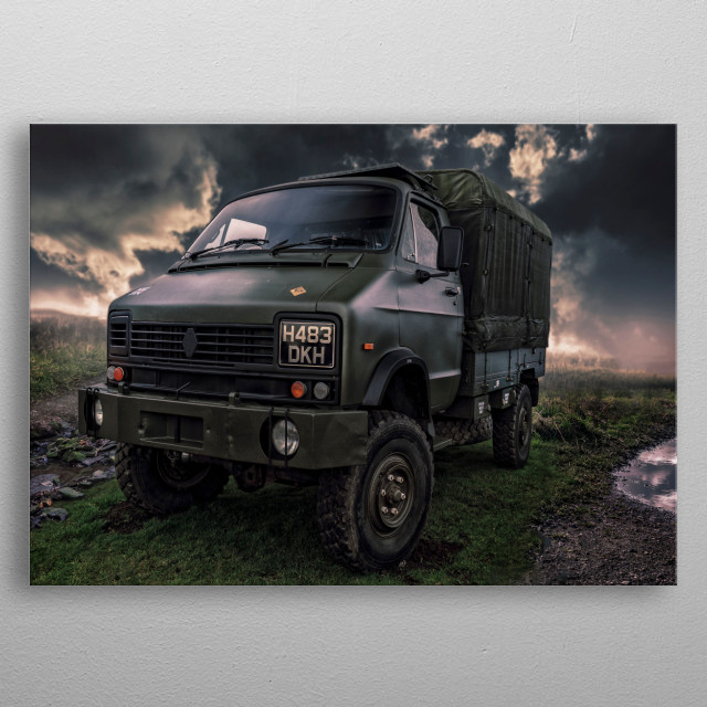 Old vintage army truck taken at a car meet then transformed into a piece of digital art..  metal poster