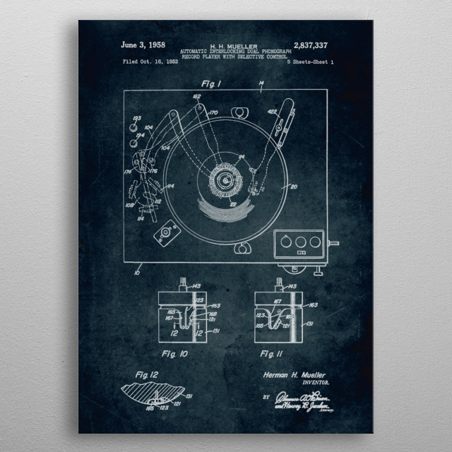 No041 - 1952 - Automatic interlocking dual phonograph record player with selective control - Inventor Herman H. Mueller metal poster