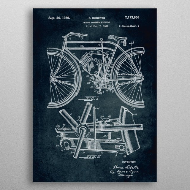 No051 - 1938 - Motor powered bicycle - Inventor Bruce Roberts metal poster
