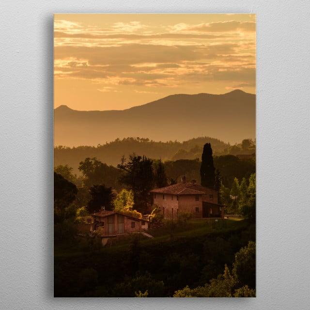 Tuscany sunset, portrait metal poster