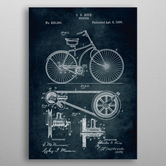 No043 - 1890 - Bicycle - Inventor Charles D. Rice metal poster