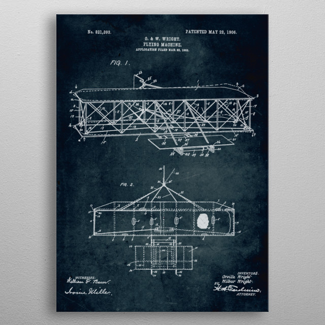 No045 - 1903 - Flying machine - Inventors O. & W. Wright metal poster