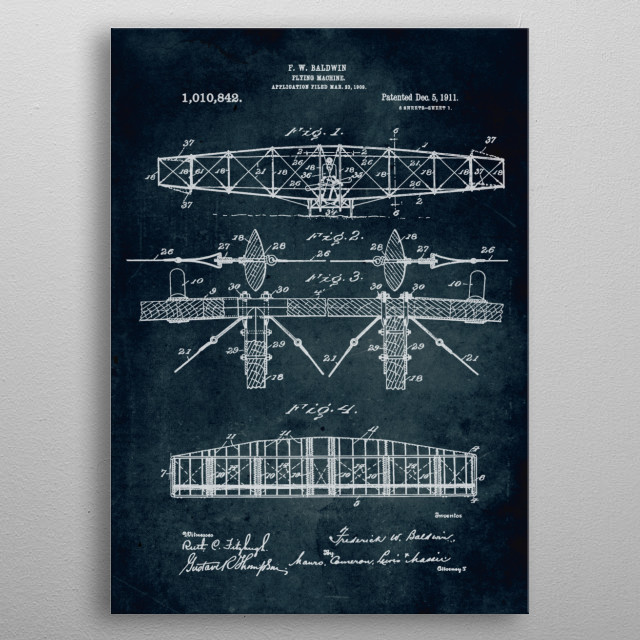 No040 - 1909 - Flying machine - Inventor F. W. Baldwin metal poster