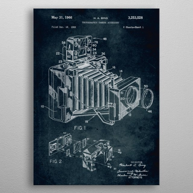 No069 - 1963 - Photographic camera accessory - Inventor Herbert A. Bing metal poster