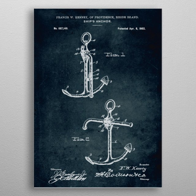 No056 - 1902 - Ship's anchor - Inventor Francis W. Kenney metal poster