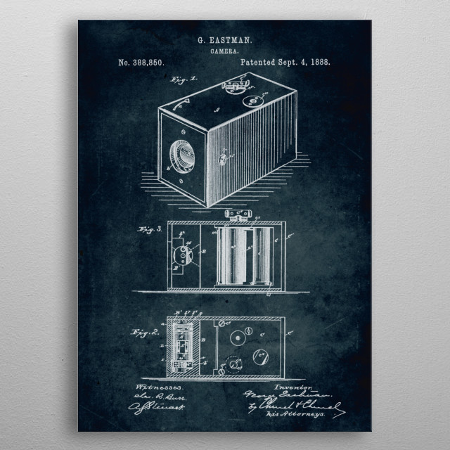 No063 - 1888 - Camera - Inventor George Eastman metal poster