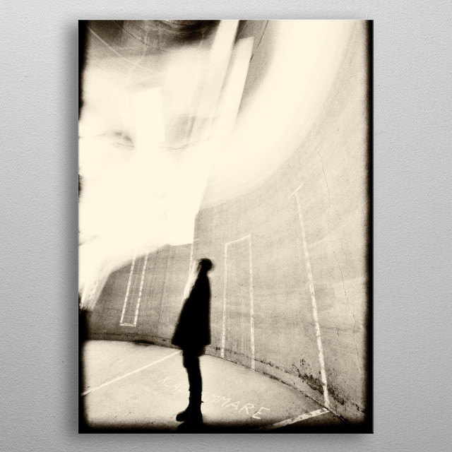 Artistic urban motion blur of woman in concrete building. Monochromatic. metal poster