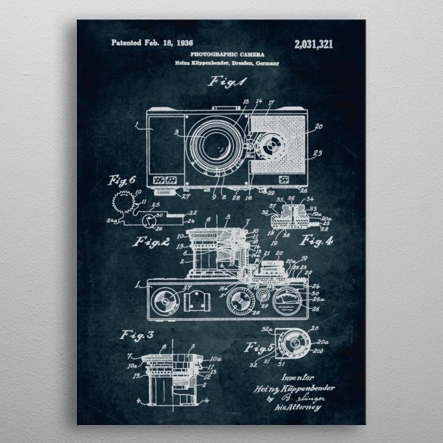 No062 - 1936 - Photographic camera - Inventor Heins Küppenbender metal poster