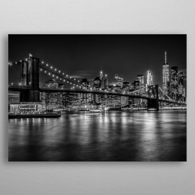 This is a beautifully nightscape of the illuminated Manhattan skyline. A classical urban impression from the heart of New York City. metal poster