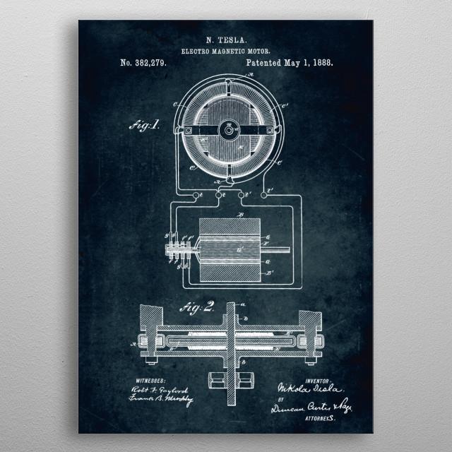 No077 - 1888 - Electro magnetic motor - Inventor Nikola Tesla metal poster
