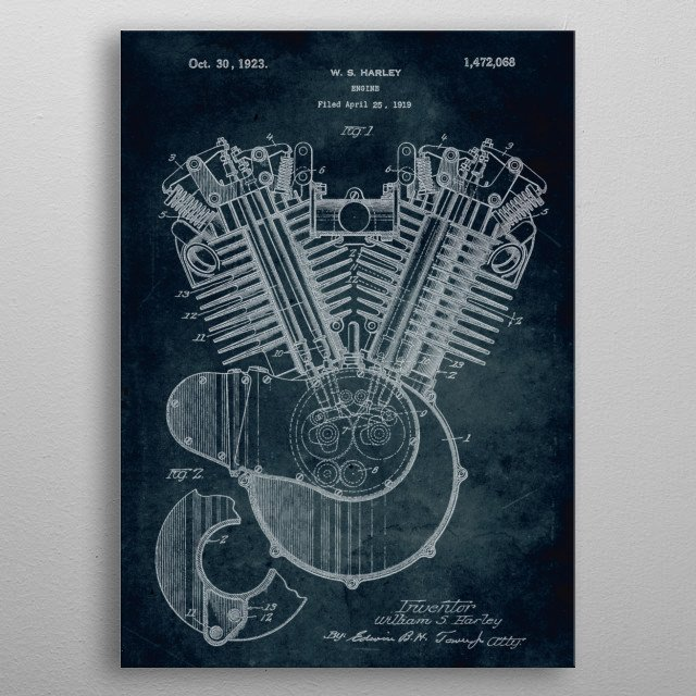 No075 - 1919 - Engine - Inventor William S. Harley metal poster